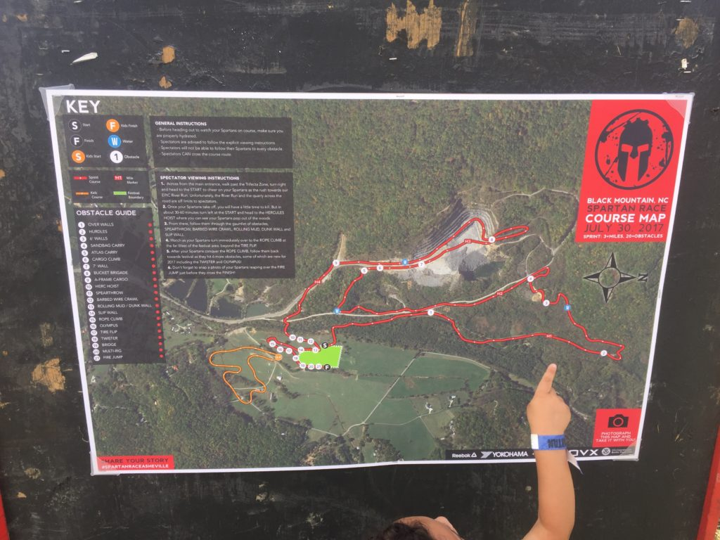 The course map (and Asher's cute chubby finger)