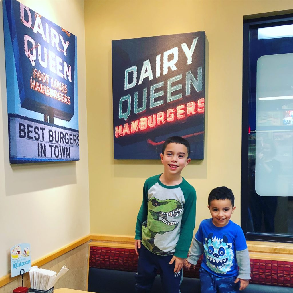 Highlight of the drive: Stopping at Dairy Queen (the kids' first time there!)